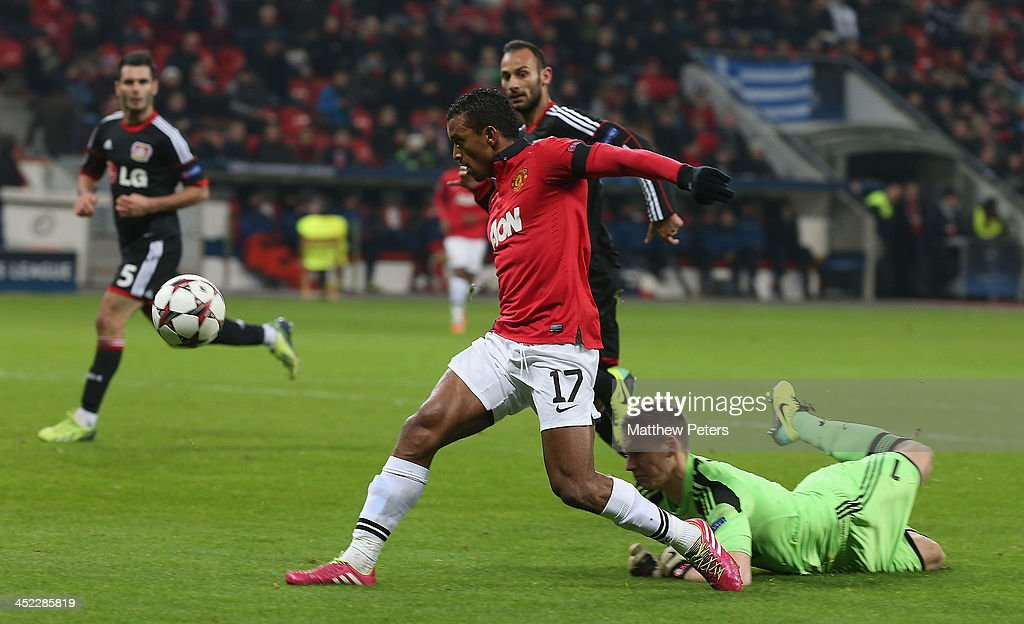 Nani of Manchester United scores their fifth goal during the UEFA Champions League Group A match between Bayer Leverkusen and Manchester United at BayArena on November 27, 2013 in Leverkusen, North Rhine-Westphalia.