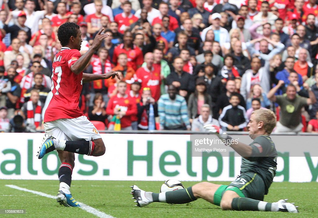Nani of Manchester United scores their third goal during the FA Community Shield match between Manchester City and Manchester United at Wembley Stadium on August 7, 2011 in London, England.