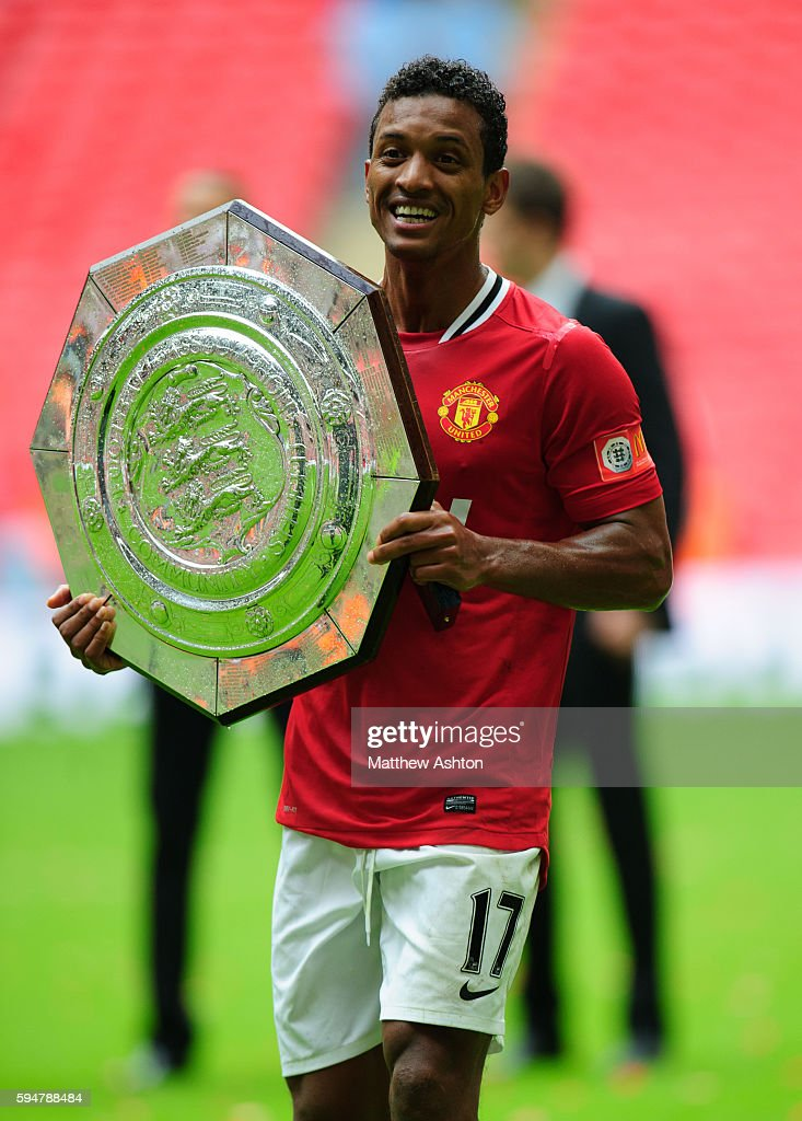 Nani of Manchester United with the FA Community Shield