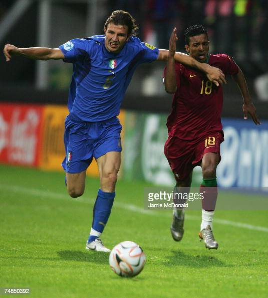 Nani of Portugal battles with Marco Motta of Italy during the UEFA European Under21 Championships Olympic Playoff match between Portugal U21 and...