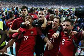 Nani of Portugal Cedric of Portugal Joao Moutinho of Portugal during the UEFA EURO 2016 final match between Portugal and France on July 10 2016 at...