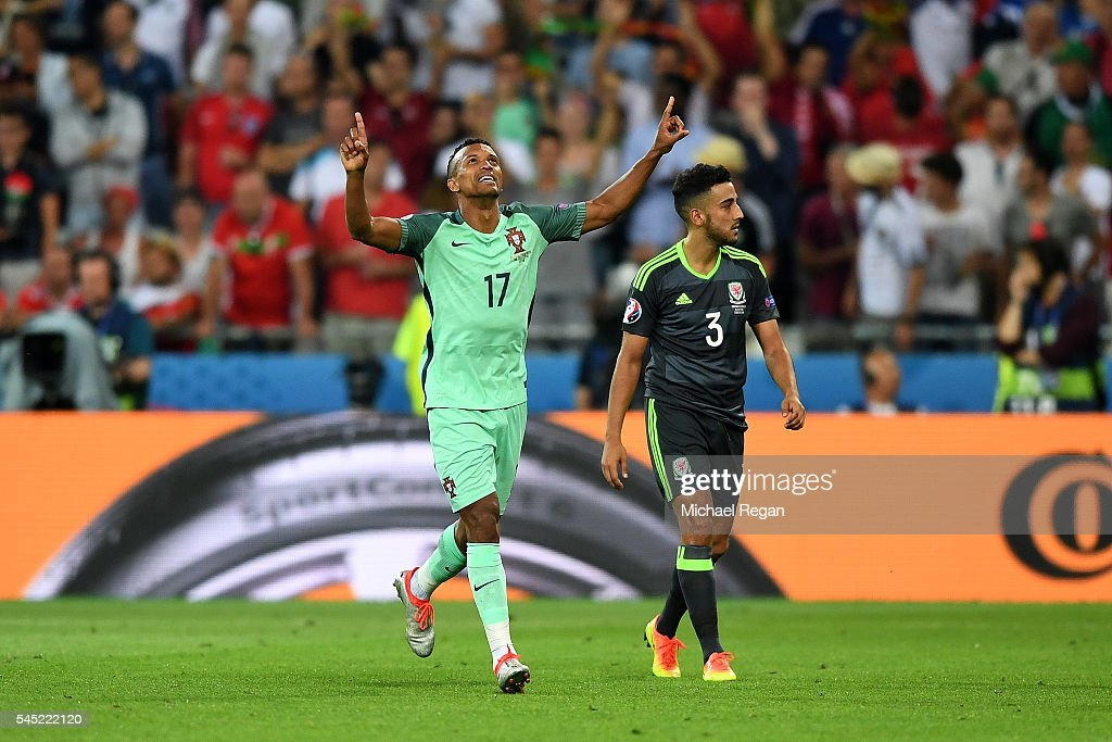 Nani of Portugal celebrates after scoring his team's second goal during the UEFA EURO 2016 semi final match between Portugal and Wales at Stade des...