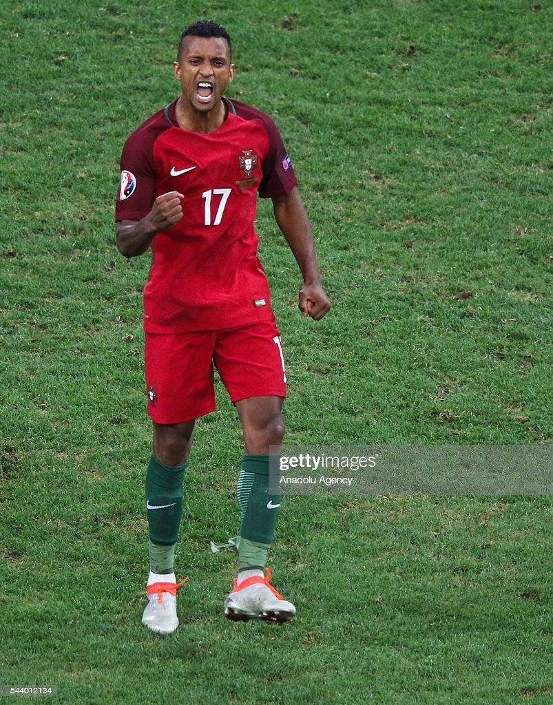 Nani of Portugal celebrates after winning the Euro 2016 quarter-final football match between Poland and Portugal at the Stade Velodrome in Marseille on June 30, 2016.