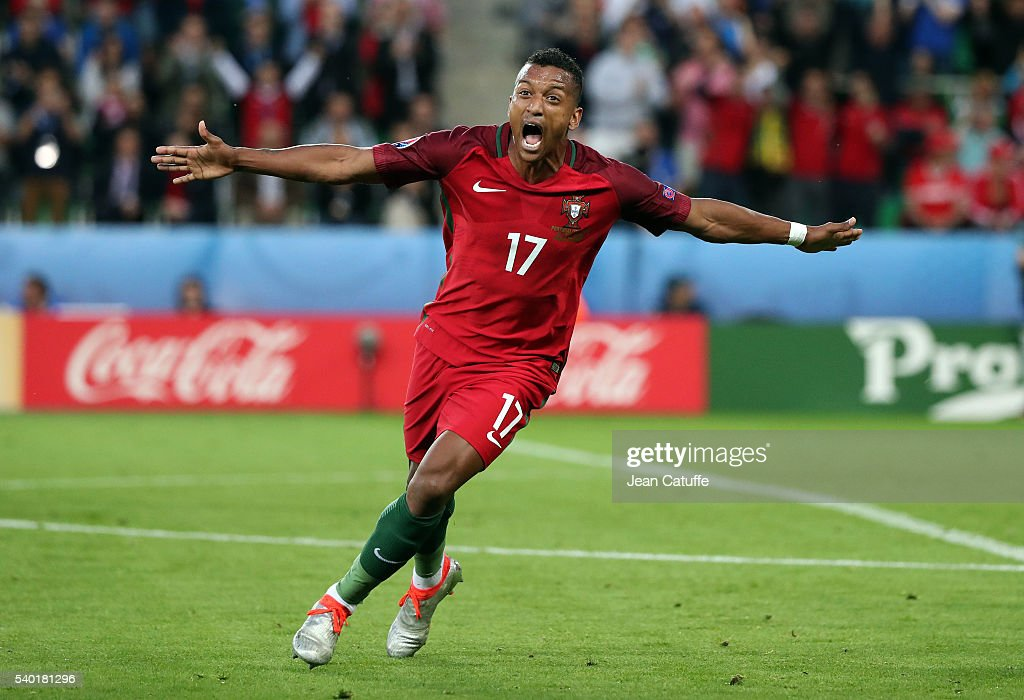Nani of Portugal celebrates his goal during the UEFA EURO 2016 Group F match between Portugal and Iceland at Stade GeoffroyGuichard on June 14 2016...