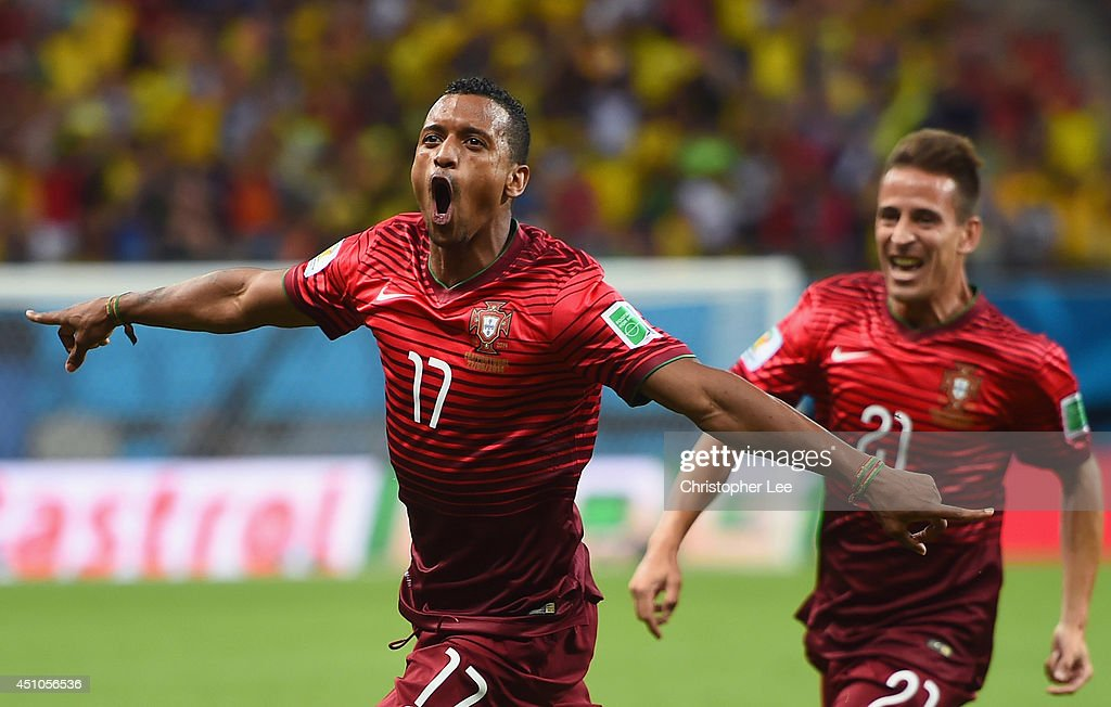Nani of Portugal celebrates scoring his team's first goal during the 2014 FIFA World Cup Brazil Group G match between the United States and Portugal...