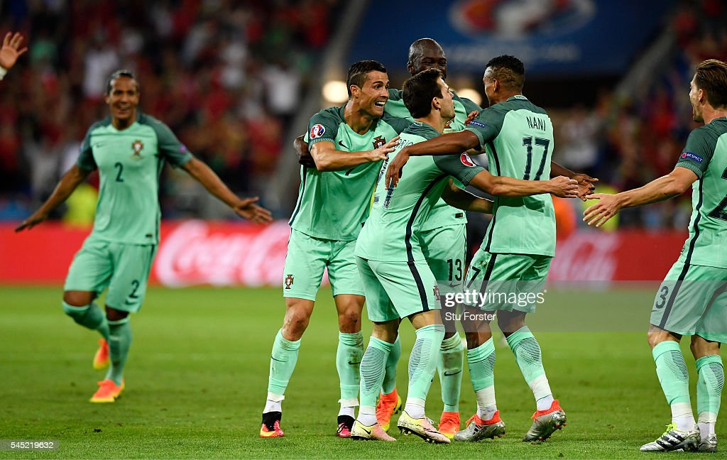 Nani of Portugal celebrates scoring his team's second goal with his team mates during the UEFA EURO 2016 semi final match between Portugal and Wales...