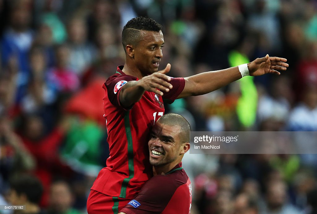 Nani of Portugal celebrates scoring the opening goal during the UEFA EURO 2016 Group F match between Portugal and Iceland at Stade GeoffroyGuichard...
