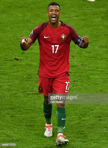 Nani of Portugal celebrates winning at the final whistle after the UEFA EURO 2016 Final match between Portugal and France at Stade de France on July...