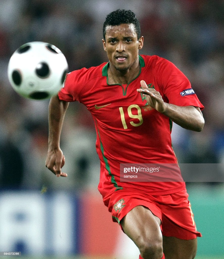 Nani of Portugal during the EURO 2008 Quarter Final match between Portugal and Germany at the St Jakob Park stadium Basel Switzerland Germany...