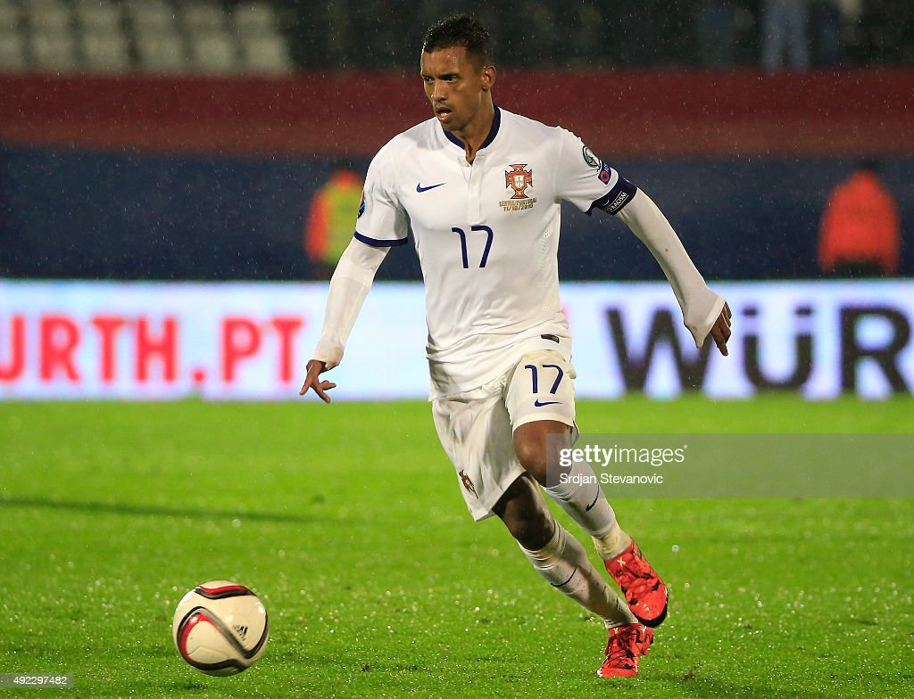 Nani of Portugal in action during the Euro 2016 qualifying football match between Serbia and Portugal at the Stadium FC Partizan in Belgrade on October 11, 2015.