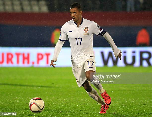 Nani of Portugal in action during the Euro 2016 qualifying football match between Serbia and Portugal at the Stadium FC Partizan in Belgrade on...