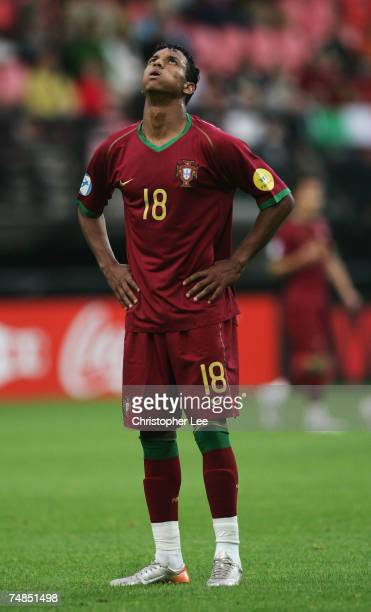 Nani of Portugal looks to the sky as he blows his checks out during the UEFA U21 Championship Olympic playoff match between Portugal U21 and Italy...