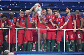 Nani of Portugal Portugal team celebrates during the European Championship Final between Portugal and France at Stade de France on July 10 2016 in...