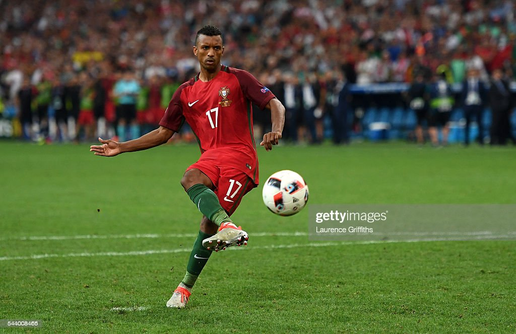 Nani of Portugal scores at the penalty shootout during the UEFA EURO 2016 quarter final match between Poland and Portugal at Stade Velodrome on June...