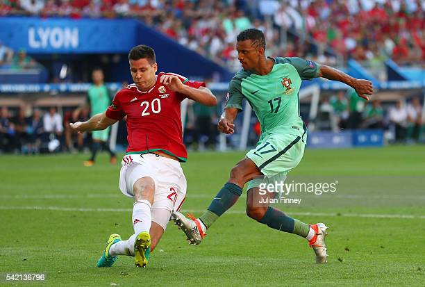Nani of Portugal scores his team's first goal during the UEFA EURO 2016 Group F match between Hungary and Portugal at Stade des Lumieres on June 22...