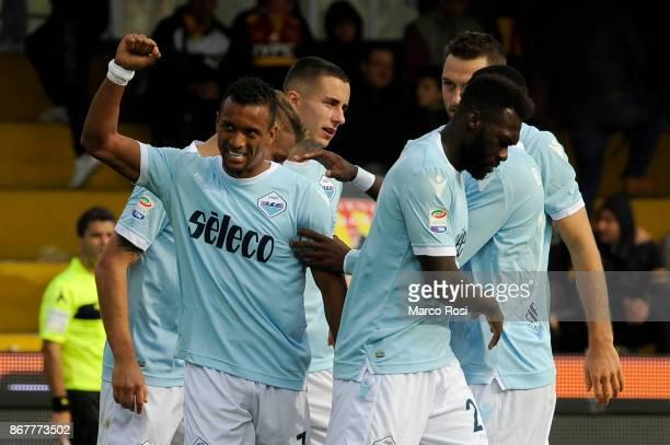 Nani of SS Lazio celebrates a fifth goal with his team mates during the Serie A match between Benevento Calcio and SS Lazio at Stadio Ciro Vigorito...