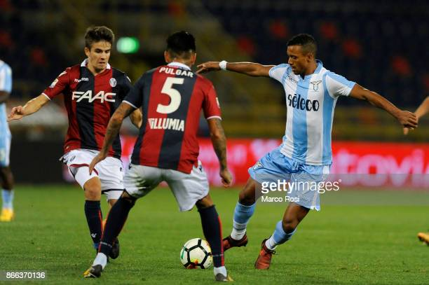 Nani of SS Lazio compete for the ball withcompete for the ball with Adam Nagy of Bologna FC during the Serie A match between Bologna FC and SS Lazio...