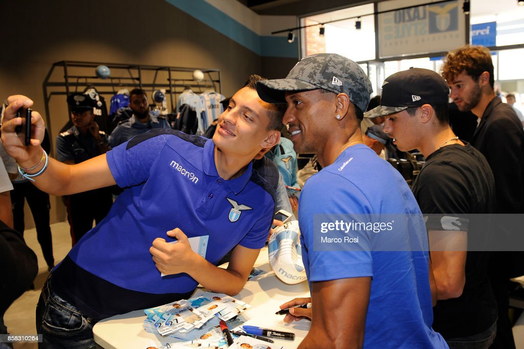 Nani of SS Lazio during the SS Lazio players visit to the club's store on October 6, 2017 in Rome, Italy.