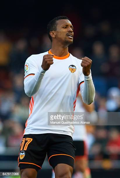 Nani of Valencia celebrates during the La Liga match between Valencia CF and Athletic Club at Mestalla Stadium on February 19 2017 in Valencia Spain