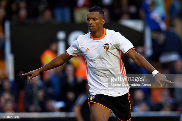 Nani of Valencia celebrates scoring his team's first goal during the La Liga match between Valencia CF and Granada CF at Mestalla Stadium on November...