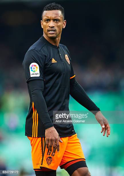 Nani of Valencia CF looks on during La Liga match between Real Betis Balompie and Valencia CF at Benito Villamarin Stadium on February 11 2017 in...