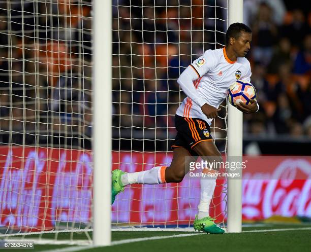 Nani of Valencia reacts after scoring a goal during the La Liga match between Valencia CF and Real Sociedad de Futbol at Mestalla Stadium on April 26...