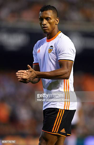 Nani of Valencia reacts during the La Liga match between Valencia CF and Deportivo Alaves at Mestalla Stadium on September 22 2016 in Madrid Spain
