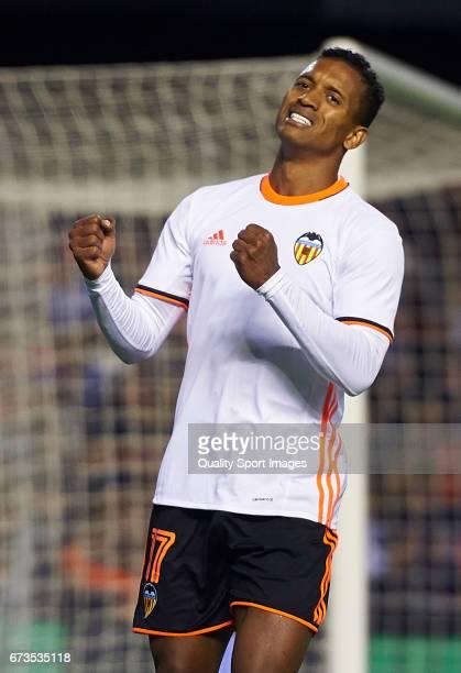 Nani of Valencia reacts during the La Liga match between Valencia CF and Real Sociedad de Futbol at Mestalla Stadium on April 26 2017 in Valencia...