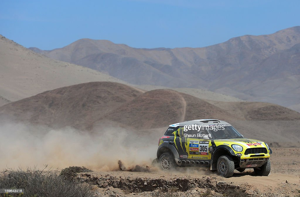 Nani Roma and co-driver Michel Perin of team Mini compete in stage 12 from Fiambala to Copiapo during the 2013 Dakar Rally on January 17, 2013 in Fiambala, Argentina.