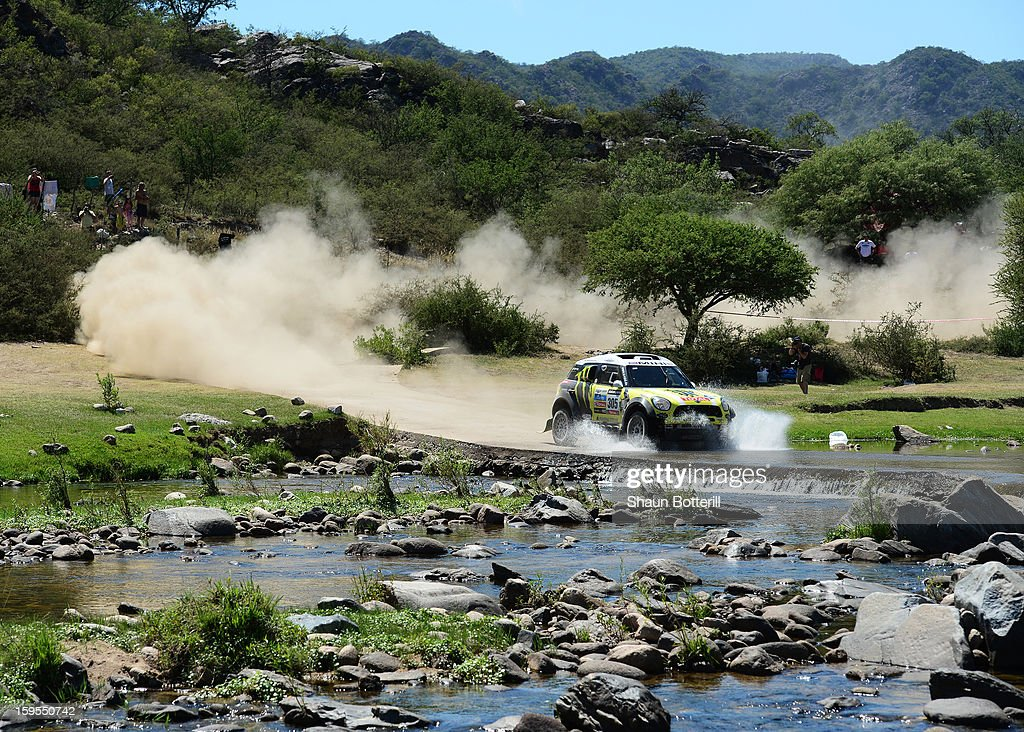 Nani Roma and co-driver Michel Perinof team Mini compete in stage 10 from Cordoba to La Rioja during the 2013 Dakar Rally on January 15, 2013 in Cordoba, Argentina.