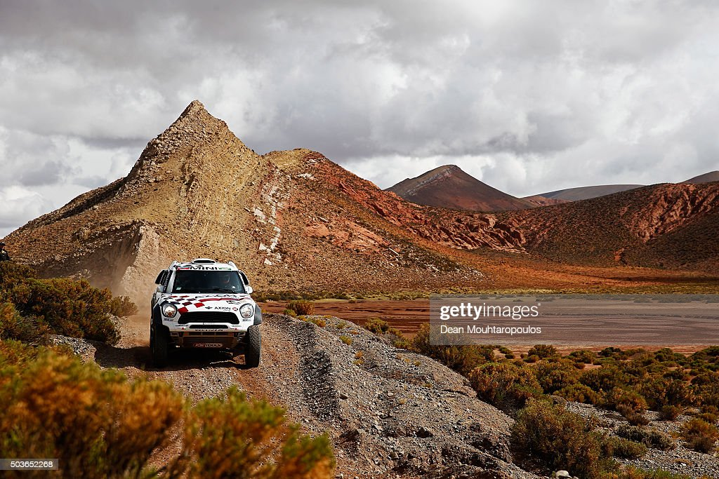 Nani Roma of Spain and Alex Bravo Haro of Spain in the MINI ALL4 RACING for AXION X-RAID TEAM compete on day 4 and the San Salvador de Jujuy stage four of the 2016 Dakar Rally on January 6, 2016 close to Purmamarca, Argentina.