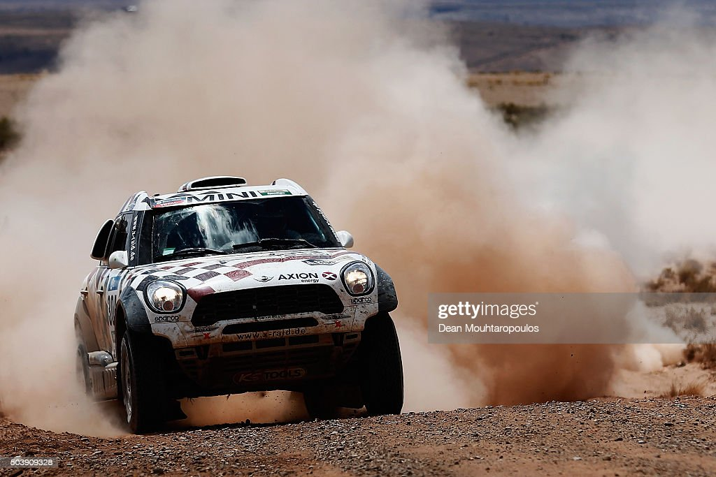 Nani Roma of Spain and Alex Bravo Haro of Spain in the MINI ALL4 RACING for AXION X-RAID TEAM compete on day 5 from Jujuy in Argentina to Uyuni in Bolivia during stage five of the 2016 Dakar Rally on January 7, 2016 in Villazon, Bolivia .