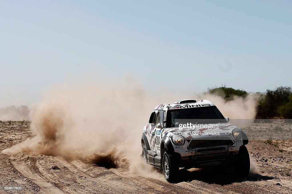 Nani Roma of Spain and Alex Bravo Haro of Spain in the MINI ALL4 RACING for AXION X-RAID TEAM compete on day 10 stage 9 during the 2016 Dakar Rally on January 12, 2016 in near Belen, Argentina.