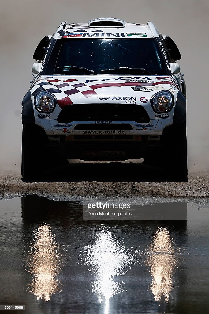 Nani Roma of Spain and Alex Bravo Haro of Spain in the MINI ALL4 RACING for AXION X-RAID TEAM compete on day 13 / stage twelve between San Juan to Villa Carlos Paz during the 2016 Dakar Rally on January 15, 2016 near Serrezuela, Argentina.