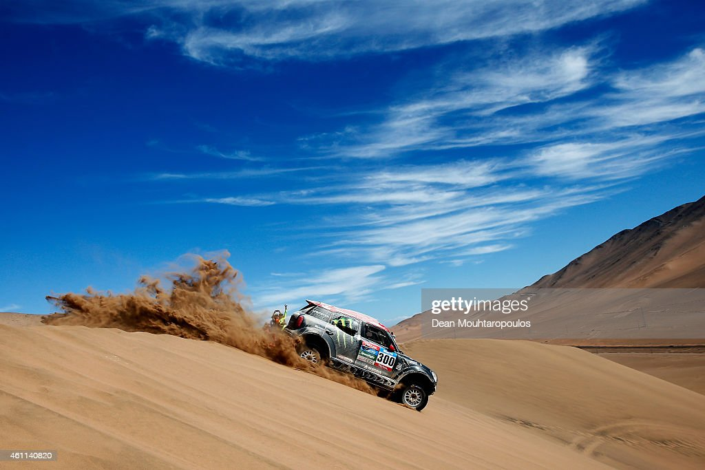 Nani Roma of Spain and Michel Perin of France driving for the ALL4 Racing Mini Monster Energy Rally Raid Team compete during day 4 of the Dakar Rallly on January 7, 2015 between Chilecito in Argentina to Copiapo, Chile.