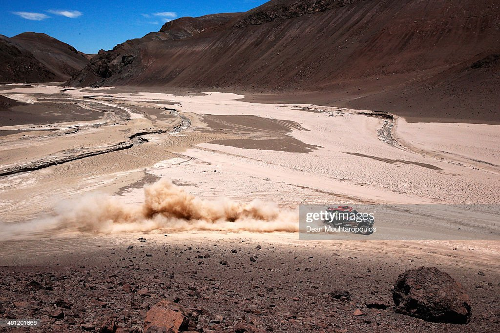 Nani Roma of Spain and Michel Perin of France driving for the ALL4 Racing Mini Monster Energy Rally Raid Team compete during day 5 of the Dakar Rallly on January 8, 2015 between Copiapo and Antofaasta near Altamira, Chile.