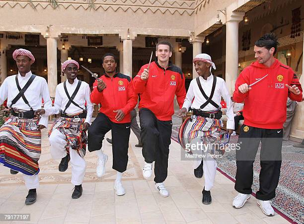 Nani Tom Heaton and Chris Eagles of Manchester United dance at the palace of HRH Prince Abdullah bin Mosa'ad bin Abdullaziz on January 23 2008 in...