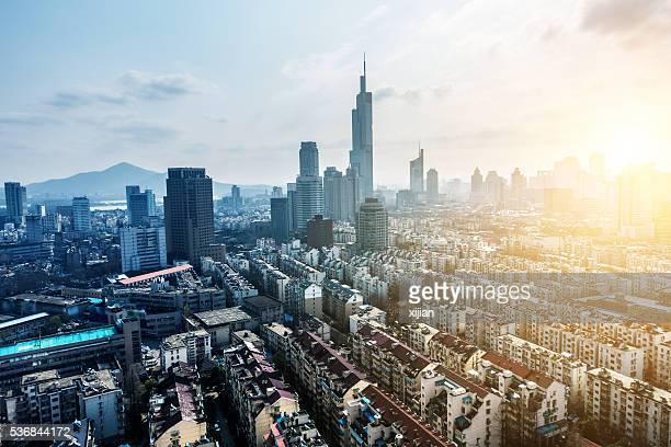 Nanjing skyline with sunset,China