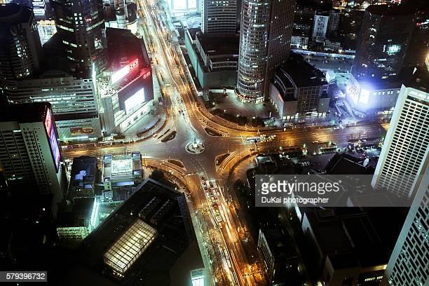 nanjing xinjiekou crossroads at night