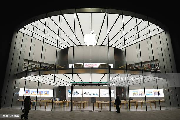 Nanjing's second Apple Store gets prepared to open next day on January 15 2016 in Nanjing Jiangsu Province of China Apple Inc will be finished its 31...