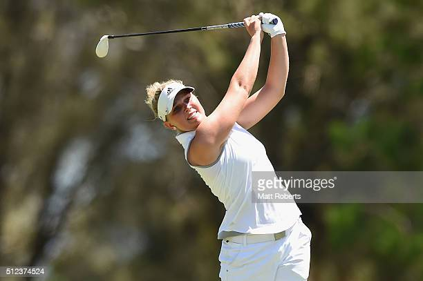 Nanna Koerstz Madsen of Denmark hits her approach shot during day two of the RACV Ladies Masters at Royal Pines Resort on February 26 2016 on the...