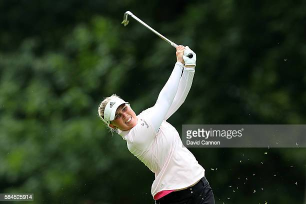 Nanna Koerstz Madsen of Denmark hits her second shot on the 18th hole during the second round of the Ricoh Women's British Open at Woburn Golf Club...