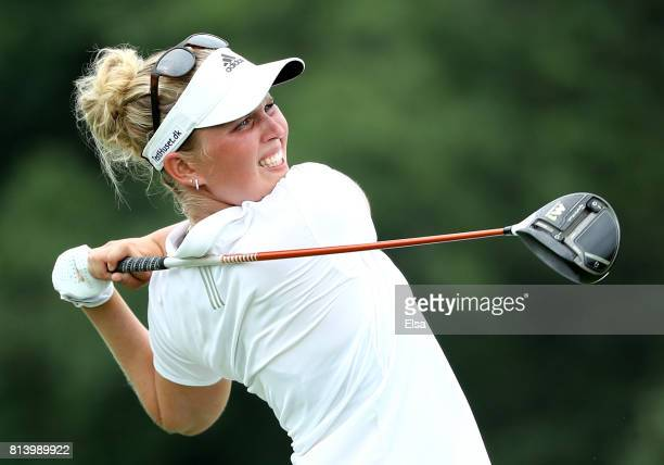 Nanna Koerstz Madsen of Denmark hits her shot from the ninth tee during the US Women's Open round one on July 13 2017 at Trump National Golf Course...