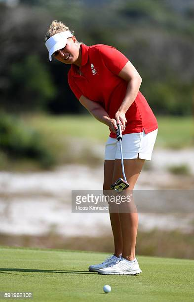 Nanna Koerstz Madsen of Denmark on the 4th gree during the third round of the Women's Individual Stroke Play golf on day 14 of the Rio Olympics at...