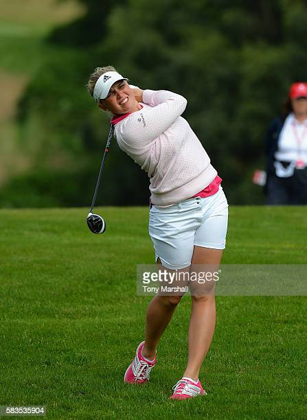 Nanna Koerstz Madsen of Denmark plays her second shot on the 15th fairway during the Ricoh Women's British Open Previews at Woburn Golf Club on July...