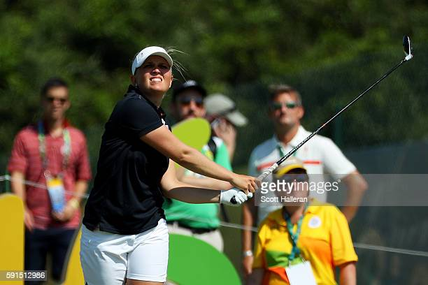 Nanna Koerstz Madsen of Denmark plays her shot from the 16th tee during the First Round of Women's Golf on Day 12 of the Rio 2016 Olympic Games at...