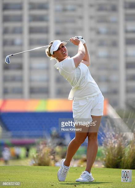 Nanna Koerstz Madsen of Denmark plays her shot from the eighth tee during the Women's Golf Final on Day 15 of the Rio 2016 Olympic Games at the...