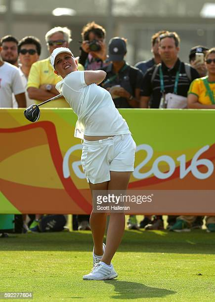 Nanna Koerstz Madsen of Denmark plays her shot from the first tee during the Women's Golf Final on Day 15 of the Rio 2016 Olympic Games at the...