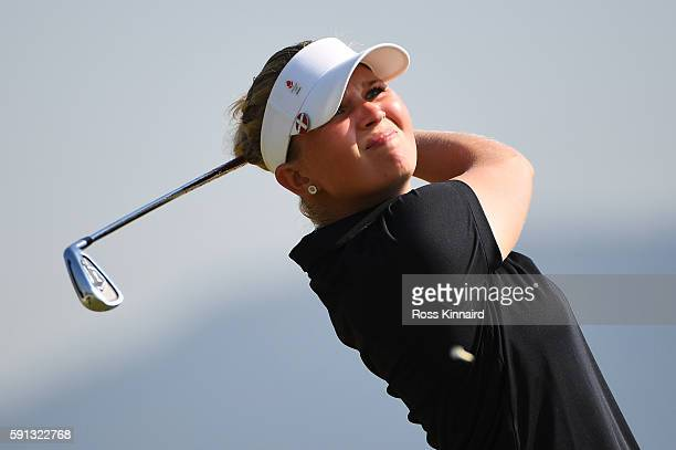 Nanna Koerstz Madsen of Denmark plays her shot from the fourth tee during the First Round of Women's Golf at Olympic Golf Course on Day 12 of the Rio...