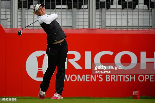Nanna Koerstz Madsen of Denmark tees off on the 1st hole during the second round of the Ricoh Women's British Open at Woburn Golf Club on July 29...